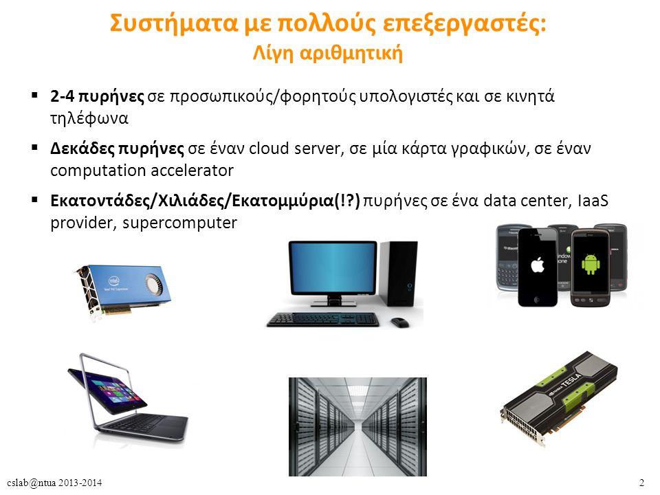 2cslab@ntua 2013-2014 Συστήματα με πολλούς επεξεργαστές: Λίγη αριθμητική  2-4 πυρήνες σε προσωπικούς/φορητούς υπολογιστές και σε κινητά τηλέφωνα  Δεκάδες πυρήνες σε έναν cloud server, σε μία κάρτα γραφικών, σε έναν computation accelerator  Εκατοντάδες/Χιλιάδες/Εκατομμύρια(!?) πυρήνες σε ένα data center, IaaS provider, supercomputer