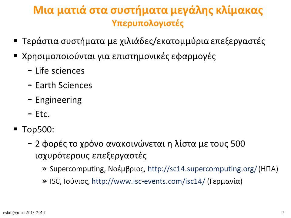 7cslab@ntua 2013-2014 Μια ματιά στα συστήματα μεγάλης κλίμακας Υπερυπολογιστές  Τεράστια συστήματα με χιλιάδες/εκατομμύρια επεξεργαστές  Χρησιμοποιούνται για επιστημονικές εφαρμογές – Life sciences – Earth Sciences – Engineering – Etc.