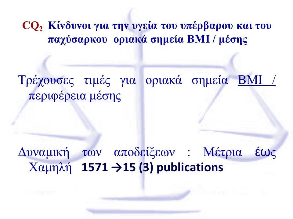 CQ 2 Κίνδυνοι για την υγεία του υπέρβαρου και του παχύσαρκου οριακά σημεία BMI / μέσης Τρέχουσες τιμές για οριακά σημεία BMI / περιφέρεια μέσης Δυναμι