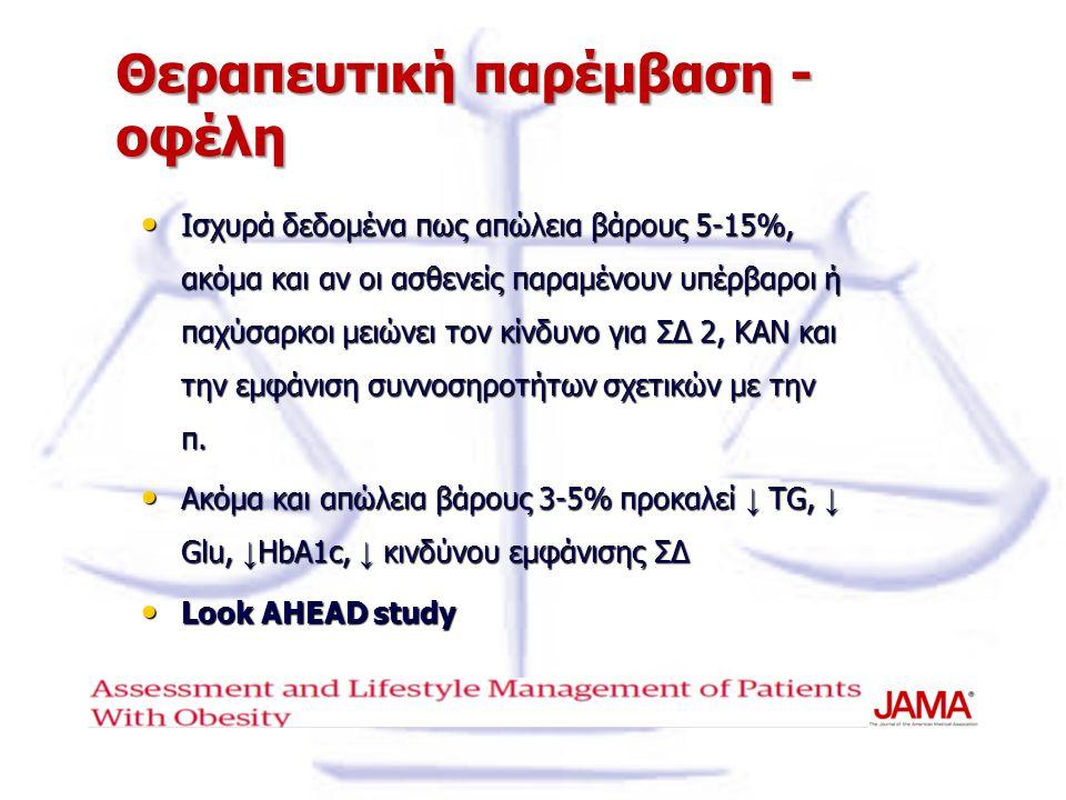 Θεραπευτική παρέμβαση - οφέλη Ισχυρά δεδομένα πως απώλεια βάρους 5-15%, ακόμα και αν οι ασθενείς παραμένουν υπέρβαροι ή παχύσαρκοι μειώνει τον κίνδυνο