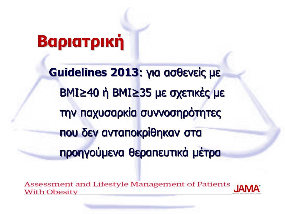 Βαριατρική Guidelines 2013: για ασθενείς με ΒΜΙ≥40 ή ΒΜΙ≥35 με σχετικές με την παχυσαρκία συννοσηρότητες που δεν ανταποκρίθηκαν στα προηγούμενα θεραπε