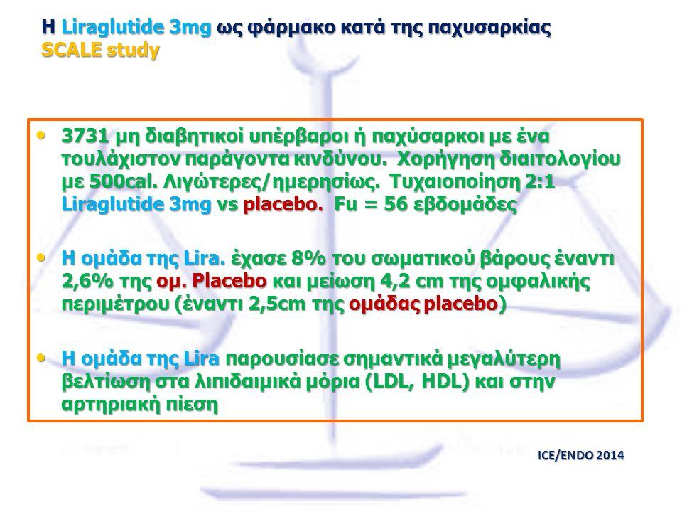 Η Liraglutide 3mg ως φάρμακο κατά της παχυσαρκίας SCALE study 3731 μη διαβητικοί υπέρβαροι ή παχύσαρκοι με ένα τουλάχιστον παράγοντα κινδύνου. Χορήγησ