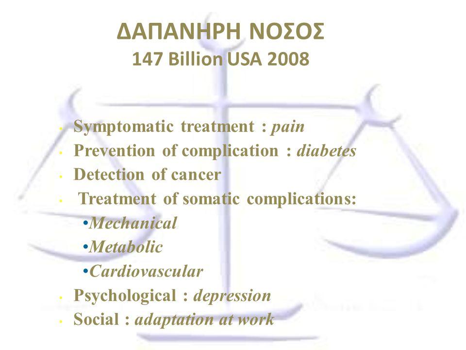 ΔΑΠΑΝΗΡΗ ΝΟΣΟΣ 147 Billion USA 2008 Symptomatic treatment : pain Prevention of complication : diabetes Detection of cancer Treatment of somatic compli