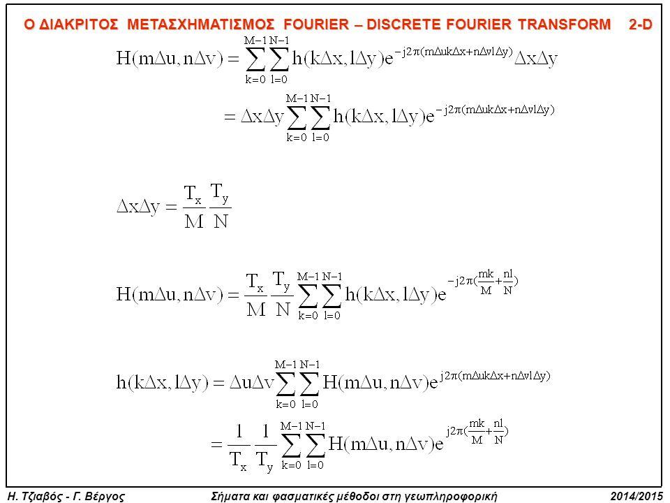 Η. Τζιαβός - Γ. Βέργος Σήματα και φασματικές μέθοδοι στη γεωπληροφορική 2014/2015 Ο ΔΙΑΚΡΙΤΟΣ ΜΕΤΑΣΧΗΜΑΤΙΣΜΟΣ FOURIER – DISCRETE FOURIER TRANSFORM 2-D