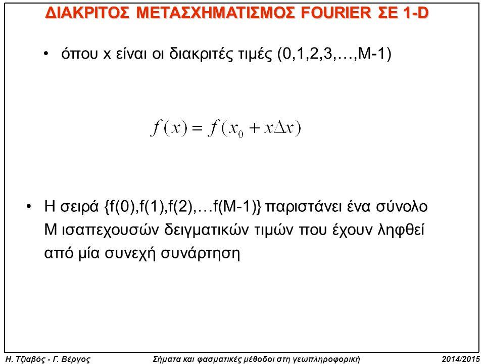 Η. Τζιαβός - Γ. Βέργος Σήματα και φασματικές μέθοδοι στη γεωπληροφορική 2014/2015 όπου x είναι οι διακριτές τιμές (0,1,2,3,…,M-1) ΔΙΑΚΡΙΤΟΣ ΜΕΤΑΣΧΗΜΑΤ