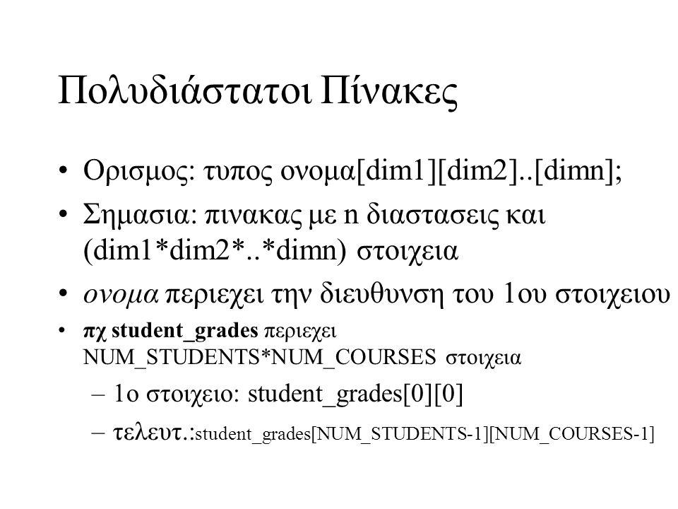 Πολυδιάστατοι Πίνακες Oρισμος: τυπος ονομα[dim1][dim2]..[dimn]; Σημασια: πινακας με n διαστασεις και (dim1*dim2*..*dimn) στοιχεια ονομα περιεχει την δ