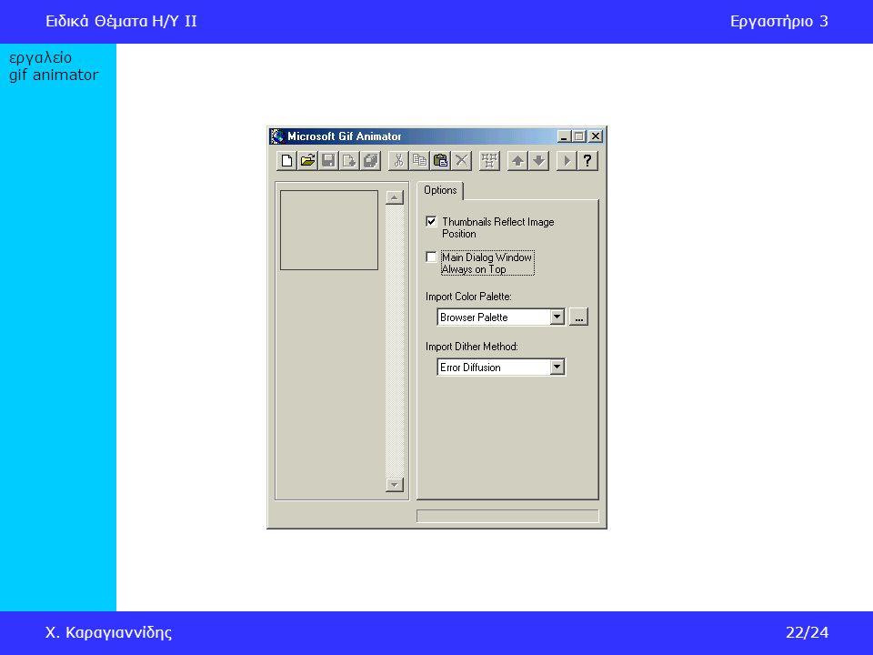 Ειδικά Θέματα Η/Υ IIΕργαστήριο 3 Χ. Καραγιαννίδης22/24 εργαλείο gif animator