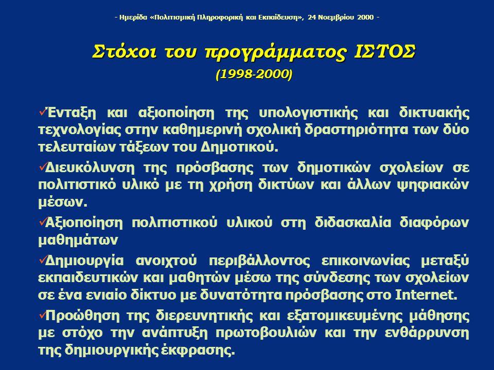 - Ημερίδα «Πολιτισμική Πληροφορική και Εκπαίδευση», 24 Νοεμβρίου 2000 - Στόχοι του προγράμματος ΙΣΤΟΣ (1998-2000) Ένταξη και αξιοποίηση της υπολογιστι