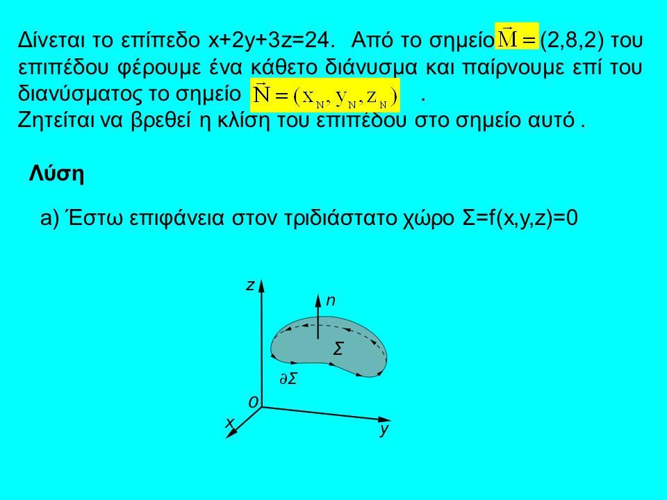 Δίνεται το επίπεδο x+2y+3z=24. Από το σημείο (2,8,2) του επιπέδου φέρουμε ένα κάθετο διάνυσμα και παίρνουμε επί του διανύσματος το σημείο. Ζητείται να