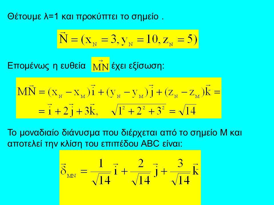 Θέτουμε λ=1 και προκύπτει το σημείο. Επομένως η ευθεία έχει εξίσωση: Το μοναδιαίο διάνυσμα που διέρχεται από το σημείο Μ και αποτελεί την κλίση του επ