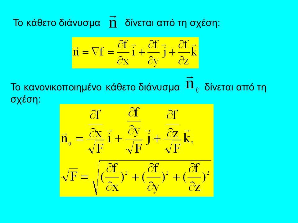 Έστω σημείο P(x 1,y 1,z 1 ) πάνω στην επιφάνεια.