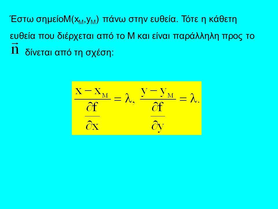Έστω σημείοM(x M,y M ) πάνω στην ευθεία. Τότε η κάθετη ευθεία που διέρχεται από το Μ και είναι παράλληλη προς το δίνεται από τη σχέση:
