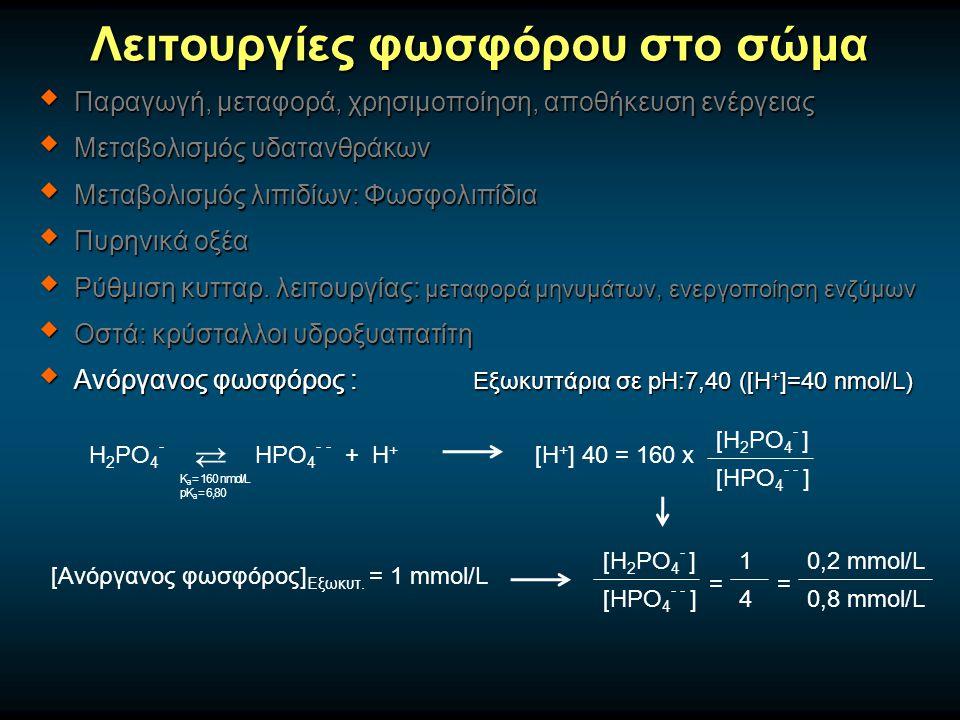 Λειτουργίες φωσφόρου στο σώμα  Παραγωγή, μεταφορά, χρησιμοποίηση, αποθήκευση ενέργειας  Μεταβολισμός υδατανθράκων  Μεταβολισμός λιπιδίων: Φωσφολιπίδια  Πυρηνικά οξέα  Ρύθμιση κυτταρ.