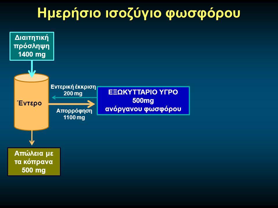 Ημερήσιο ισοζύγιο φωσφόρου Διαιτητική πρόσληψη 1400 mg Έντερο Απώλεια με τα κόπρανα 500 mg ΕΞΩΚΥΤΤΑΡΙΟ ΥΓΡΟ 500mg ανόργανου φωσφόρου Απορρόφηση 1100 m