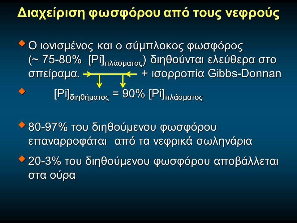 Διαχείριση φωσφόρου από τους νεφρούς  Ο ιονισμένος και ο σύμπλοκος φωσφόρος (~ 75-80% [Pi] πλάσματος ) διηθούνται ελεύθερα στο σπείραμα. + ισορροπία