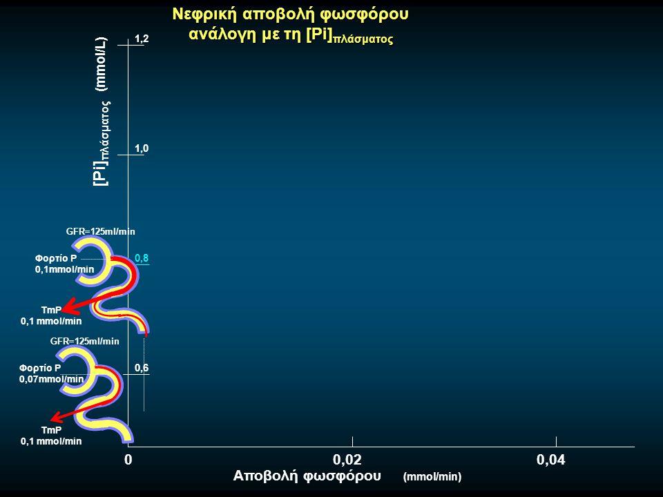 Νεφρική αποβολή φωσφόρου ανάλογη με τη [Pi] πλάσματος 0,8 GFR=125ml/min Φορτίο Ρ 0,07mmol/min TmP 0,1 mmol/min 0,6 1,0 1,2 [Pi] πλάσματος (mmol/L) Αποβολή φωσφόρου (mmol/min) GFR=125ml/min Φορτίο Ρ 0,1mmol/min TmP 0,1 mmol/min 00,020,04