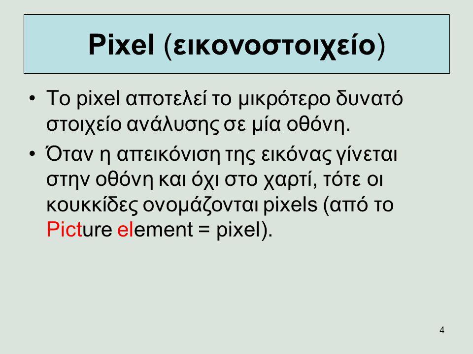 4 Pixel (εικονοστοιχείο) Το pixel αποτελεί το μικρότερο δυνατό στοιχείο ανάλυσης σε μία οθόνη. Όταν η απεικόνιση της εικόνας γίνεται στην οθόνη και όχ
