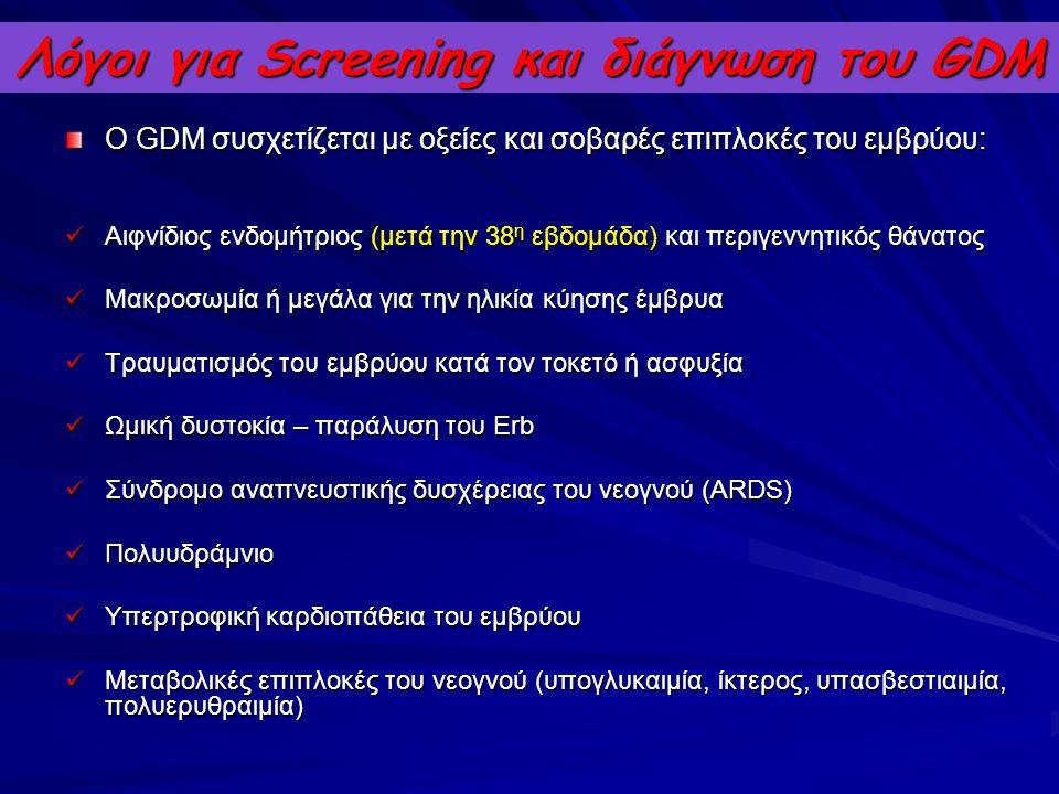 Λόγοι για Screening και διάγνωση του GDM Ο GDM συσχετίζεται με οξείες και σοβαρές επιπλοκές του εμβρύου: Αιφνίδιος ενδομήτριος (μετά την 38 η εβδομάδα