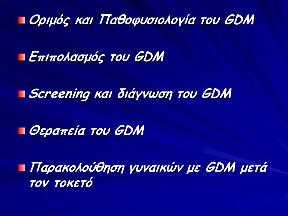 Οριμός και Παθοφυσιολογία του GDM Επιπολασμός του GDM Screening και διάγνωση του GDM Θεραπεία του GDM Παρακολούθηση γυναικών με GDM μετά τον τοκετό