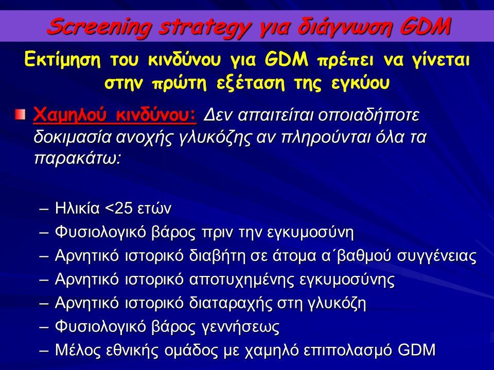 Screening strategy για διάγνωση GDM Χαμηλού κινδύνου: Δεν απαιτείται οποιαδήποτε δοκιμασία ανοχής γλυκόζης αν πληρούνται όλα τα παρακάτω: –Ηλικία <25