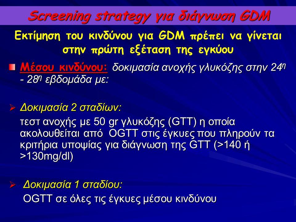 Screening strategy για διάγνωση GDM Μέσου κινδύνου: δοκιμασία ανοχής γλυκόζης στην 24 η - 28 η εβδομάδα με:  Δοκιμασία 2 σταδίων: τεστ ανοχής με 50 g