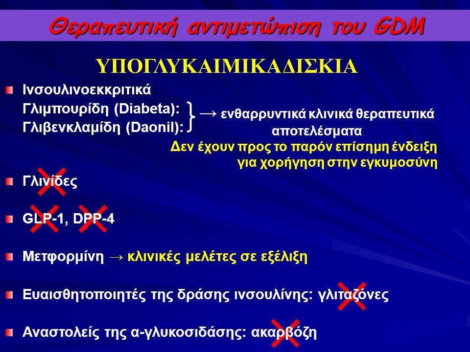 Ινσουλινοεκκριτικά Γλιμπουρίδη (Diabeta): Γλιβενκλαμίδη (Daonil): Δ εν έχουν προς το παρόν επίσημη ένδειξη για χορήγηση στην εγκυμοσύνη Γλινίδες GLP-1