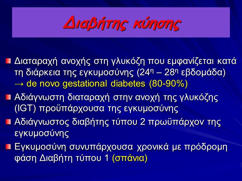 Διαβήτης κύησης Διαταραχή ανοχής στη γλυκόζη που εμφανίζεται κατά τη διάρκεια της εγκυμοσύνης (24 η – 28 η εβδομάδα) → de novo gestational diabetes (8