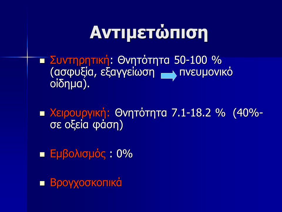 Αντιμετώπιση Συντηρητική: Θνητότητα 50-100 % (ασφυξία, εξαγγείωση πνευμονικό οίδημα). Συντηρητική: Θνητότητα 50-100 % (ασφυξία, εξαγγείωση πνευμονικό