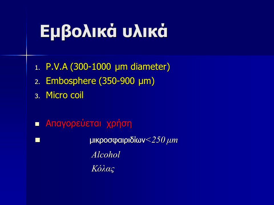 Εμβολικά υλικά Εμβολικά υλικά 1. P.V.A (300-1000 μm diameter) 2. Embosphere (350-900 μm) 3. Micro coil Απαγορεύεται χρήση Απαγορεύεται χρήση μικροσφαι