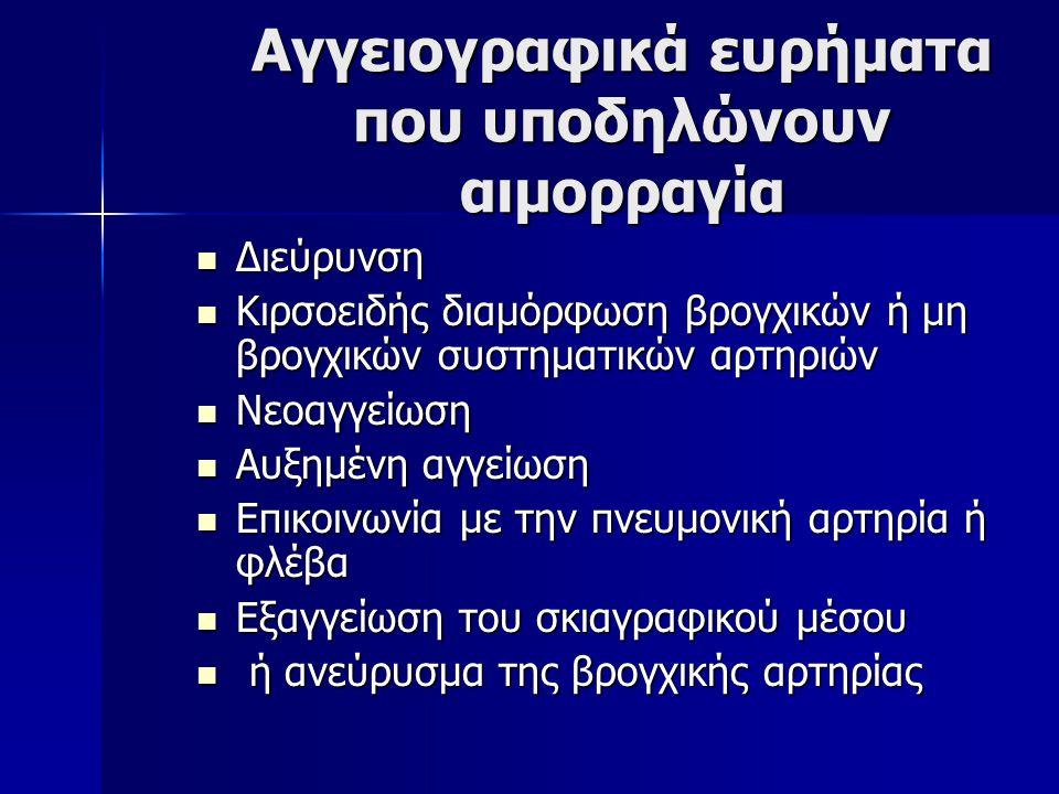 Αγγειογραφικά ευρήματα που υποδηλώνουν αιμορραγία Διεύρυνση Διεύρυνση Κιρσοειδής διαμόρφωση βρογχικών ή μη βρογχικών συστηματικών αρτηριών Κιρσοειδής