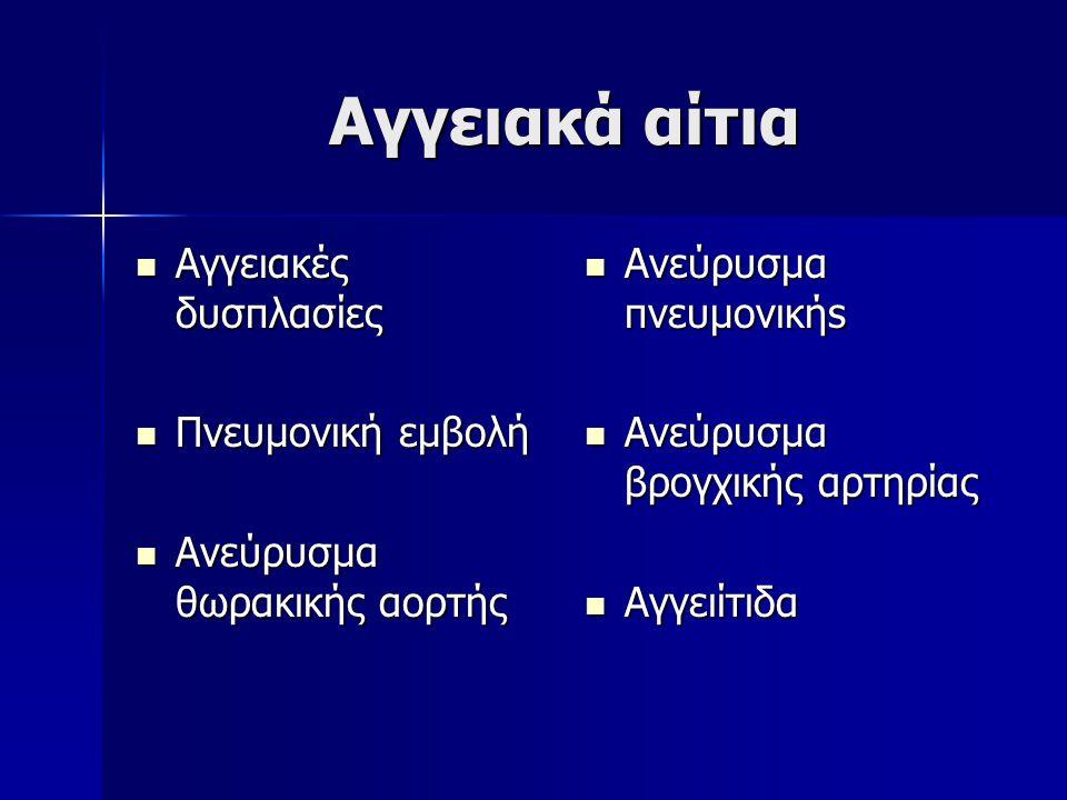 Αγγειακά αίτια Αγγειακές δυσπλασίες Αγγειακές δυσπλασίες Πνευμονική εμβολή Πνευμονική εμβολή Ανεύρυσμα θωρακικής αορτής Ανεύρυσμα θωρακικής αορτής Ανε