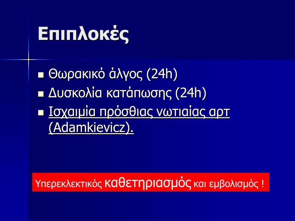 Eπιπλοκές Θωρακικό άλγος (24h) Θωρακικό άλγος (24h) Δυσκολία κατάπωσης (24h) Δυσκολία κατάπωσης (24h) Ισχαιμία πρόσθιας νωτιαίας αρτ (Adamkievicz). Ισ