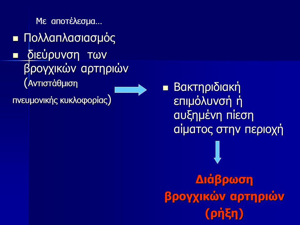 Μαζική αιμόπτυση 90% βρογχικές (5%) πνευμονική κυκλοφορία (5%)-μαζική αιμόπτυση από την αορτή (αορτο-βρογχική επικοινωνία, ρήξη ανευρύσματος) ή από συστηματική αιμάτωση των πνευμόνων των πνευμόνων Ann Thorac Surg 1991; 51:515-519 Br J Anaesth 2001; 88:291-295.