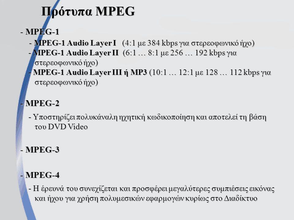 Πρότυπα MPEG - MPEG-1 - MPEG-1 Audio Layer I (4:1 με 384 kbps για στερεοφωνικό ήχο) - MPEG-1 Audio Layer I (4:1 με 384 kbps για στερεοφωνικό ήχο) - MPEG-1 Audio Layer II (6:1 … 8:1 με 256 … 192 kbps για στερεοφωνικό ήχο) - MPEG-1 Audio Layer II (6:1 … 8:1 με 256 … 192 kbps για στερεοφωνικό ήχο) - MPEG-1 Audio Layer III ή MP3 (10:1 … 12:1 με 128 … 112 kbps για στερεοφωνικό ήχο) - MPEG-1 Audio Layer III ή MP3 (10:1 … 12:1 με 128 … 112 kbps για στερεοφωνικό ήχο) - MPEG-2 - Υποστηρίζει πολυκάναλη ηχητική κωδικοποίηση και αποτελεί τη βάση του DVD Video - Υποστηρίζει πολυκάναλη ηχητική κωδικοποίηση και αποτελεί τη βάση του DVD Video - MPEG-3 - MPEG-4 - Η έρευνά του συνεχίζεται και προσφέρει μεγαλύτερες συμπιέσεις εικόνας και ήχου για χρήση πολυμεσικών εφαρμογών κυρίως στο Διαδίκτυο - Η έρευνά του συνεχίζεται και προσφέρει μεγαλύτερες συμπιέσεις εικόνας και ήχου για χρήση πολυμεσικών εφαρμογών κυρίως στο Διαδίκτυο