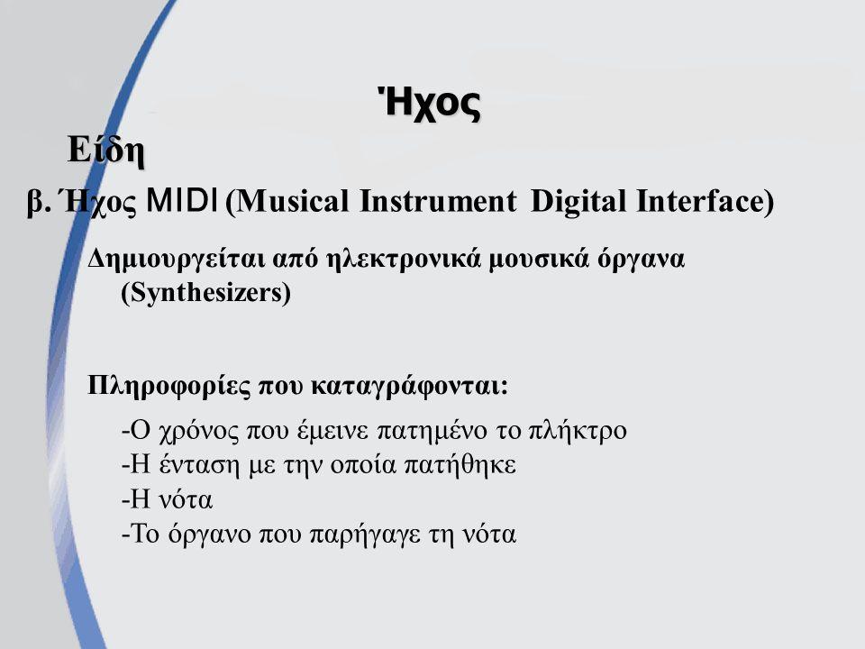 β. Ήχος MIDI (Musical Instrument Digital Interface) Ήχος Είδη Δημιουργείται από ηλεκτρονικά μουσικά όργανα (Synthesizers) Πληροφορίες που καταγράφοντα