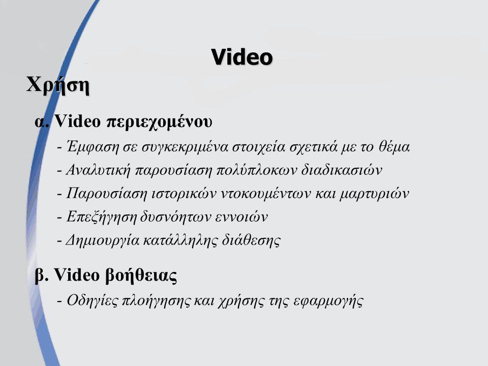α. Video περιεχομένου Video β.