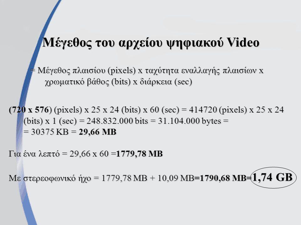Μέγεθος του αρχείου ψηφιακού Video = Μέγεθος πλαισίου (pixels) x ταχύτητα εναλλαγής πλαισίων x χρωματικό βάθος (bits) x διάρκεια (sec) (720 x 576) (pixels) x 25 x 24 (bits) x 60 (sec) = 414720 (pixels) x 25 x 24 (bits) x 1 (sec) = 248.832.000 bits = 31.104.000 bytes = = 30375 KB = 29,66 MB Για ένα λεπτό = 29,66 x 60 =1779,78 MB Με στερεοφωνικό ήχο = 1779,78 MB + 10,09 MB=1790,68 MB= 1,74 GB