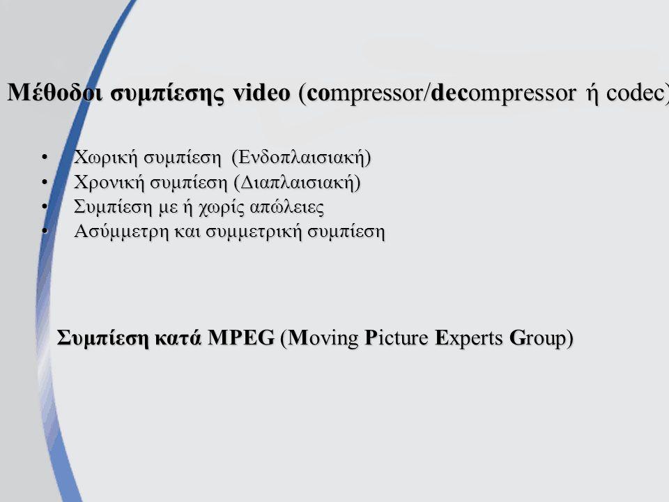 Μέθοδοι συμπίεσης video (compressor/decompressor ή codec) Χωρική συμπίεση (Ενδοπλαισιακή)Χωρική συμπίεση (Ενδοπλαισιακή) Χρονική συμπίεση (Διαπλαισιακή)Χρονική συμπίεση (Διαπλαισιακή) Συμπίεση με ή χωρίς απώλειεςΣυμπίεση με ή χωρίς απώλειες Ασύμμετρη και συμμετρική συμπίεσηΑσύμμετρη και συμμετρική συμπίεση Συμπίεση κατά MPEG (Moving Picture Experts Group)
