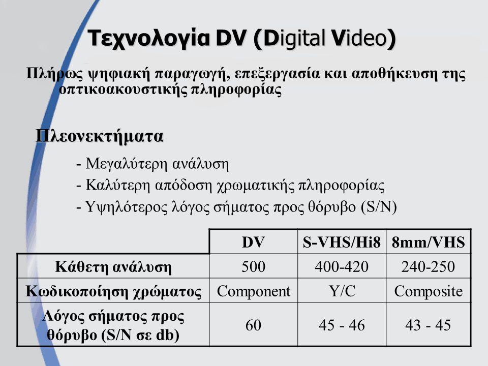 Πλήρως ψηφιακή παραγωγή, επεξεργασία και αποθήκευση της οπτικοακουστικής πληροφορίας Τεχνολογία DV (Digital Video) - Μεγαλύτερη ανάλυση - Καλύτερη απόδοση χρωματικής πληροφορίας - Υψηλότερος λόγος σήματος προς θόρυβο (S/N) Πλεονεκτήματα DVS-VHS/Hi88mm/VHS Κάθετη ανάλυση500400-420240-250 Κωδικοποίηση χρώματοςComponentY/CComposite Λόγος σήματος προς θόρυβο (S/N σε db) 6045 - 4643 - 45