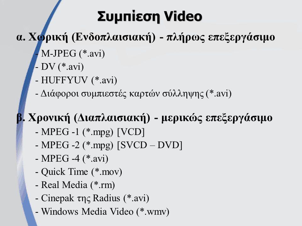 α. Χωρική (Ενδοπλαισιακή) - πλήρως επεξεργάσιμο Συμπίεση Video β.