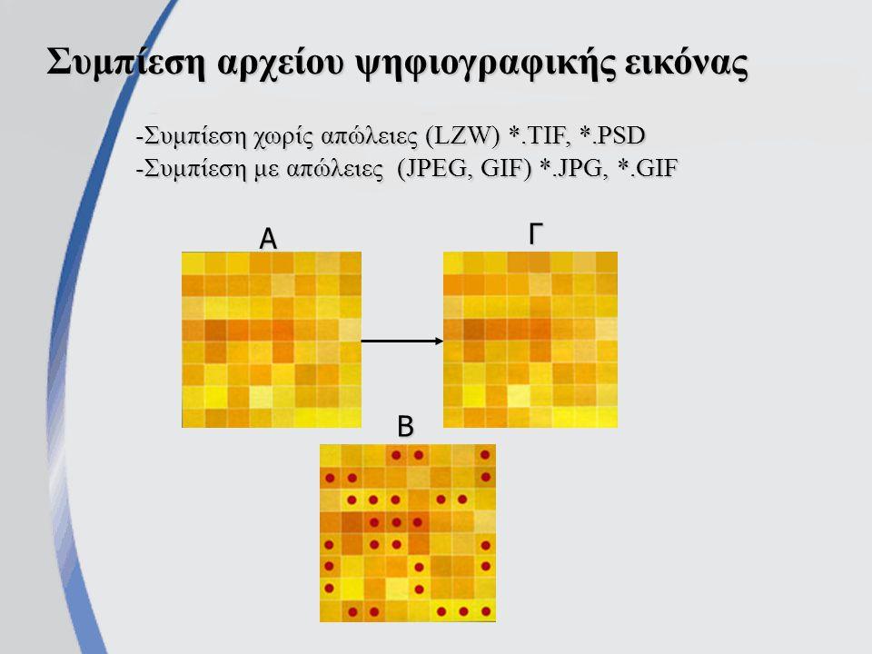 Συμπίεση αρχείου ψηφιογραφικής εικόνας -Συμπίεση χωρίς απώλειες (LZW) *.TIF, *.PSD -Συμπίεση με απώλειες (JPEG, GIF) *.JPG, *.GIF Α Γ Β