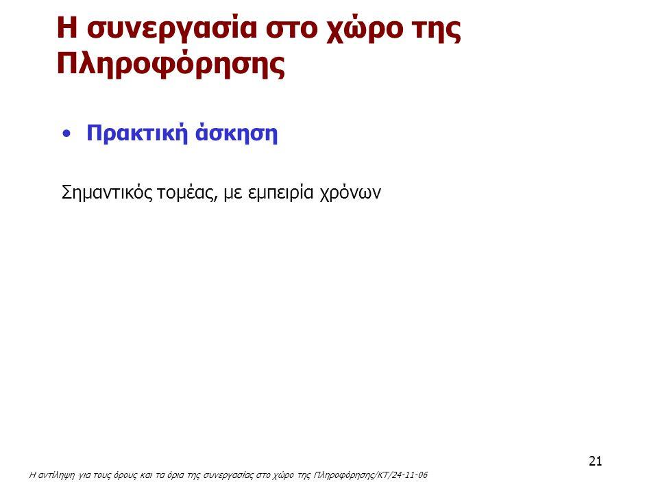 Η αντίληψη για τους όρους και τα όρια της συνεργασίας στο χώρο της Πληροφόρησης/ΚΤ/24-11-06 21 Πρακτική άσκηση Σημαντικός τομέας, με εμπειρία χρόνων Η