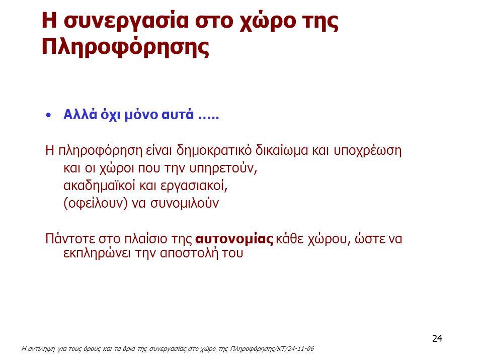 Η αντίληψη για τους όρους και τα όρια της συνεργασίας στο χώρο της Πληροφόρησης/ΚΤ/24-11-06 24 Αλλά όχι μόνο αυτά ….. Η πληροφόρηση είναι δημοκρατικό