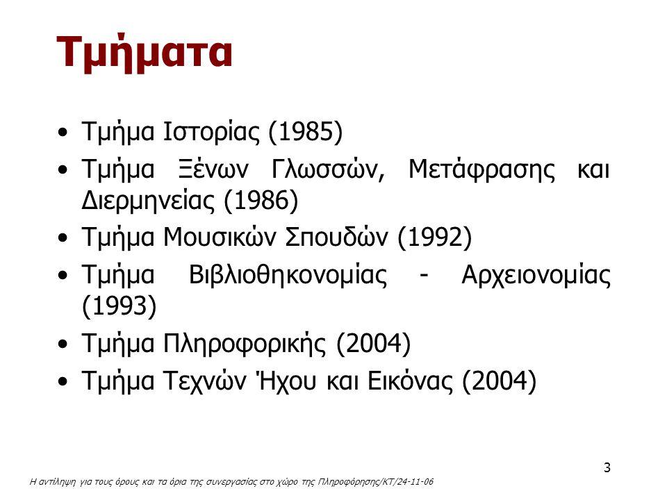 3 Τμήματα Tμήμα Iστορίας (1985) Tμήμα Ξένων Γλωσσών, Mετάφρασης και Διερμηνείας (1986) Tμήμα Mουσικών Σπουδών (1992) Tμήμα Bιβλιοθηκονομίας - Aρχειονο