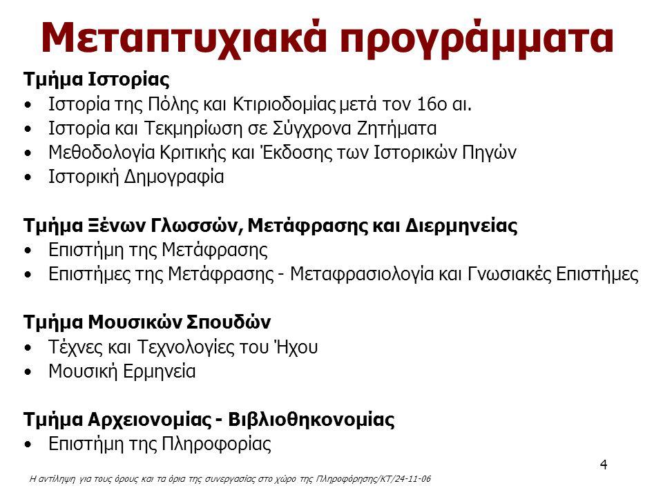 Η αντίληψη για τους όρους και τα όρια της συνεργασίας στο χώρο της Πληροφόρησης/ΚΤ/24-11-06 5 Εκδηλώσεις Ευγένιος Βούλγαρης ο άνδρας και το έργο του Το νυκτερινό αστικό τοπίο ως μοχλός ανάπτυξης σύγχρονου πολιτισμού και ως πόλος έλξης αστικού τουρισμού Ζητήματα αισθητικής στην εποχή της παγκοσμιοποίησης Τέχνη και Τεχνολογία Όμποε και Brazilian Jazz...