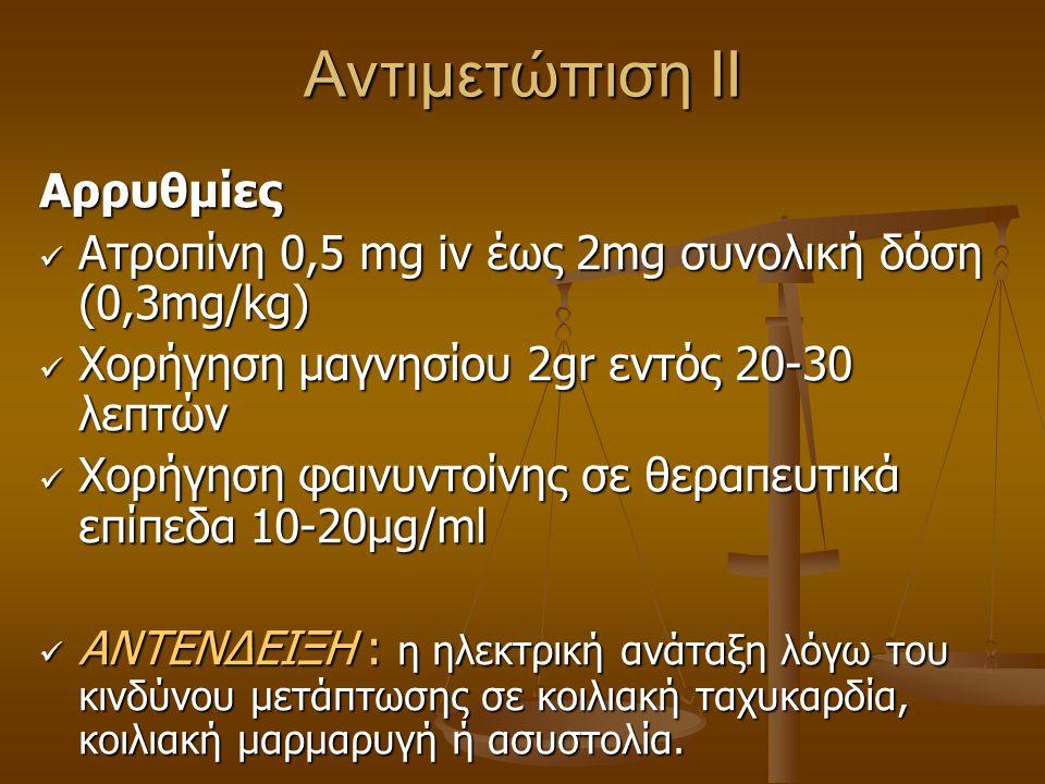 Αντιμετώπιση ΙΙ Αρρυθμίες Ατροπίνη 0,5 mg iv έως 2mg συνολική δόση (0,3mg/kg) Ατροπίνη 0,5 mg iv έως 2mg συνολική δόση (0,3mg/kg) Xoρήγηση μαγνησίου 2