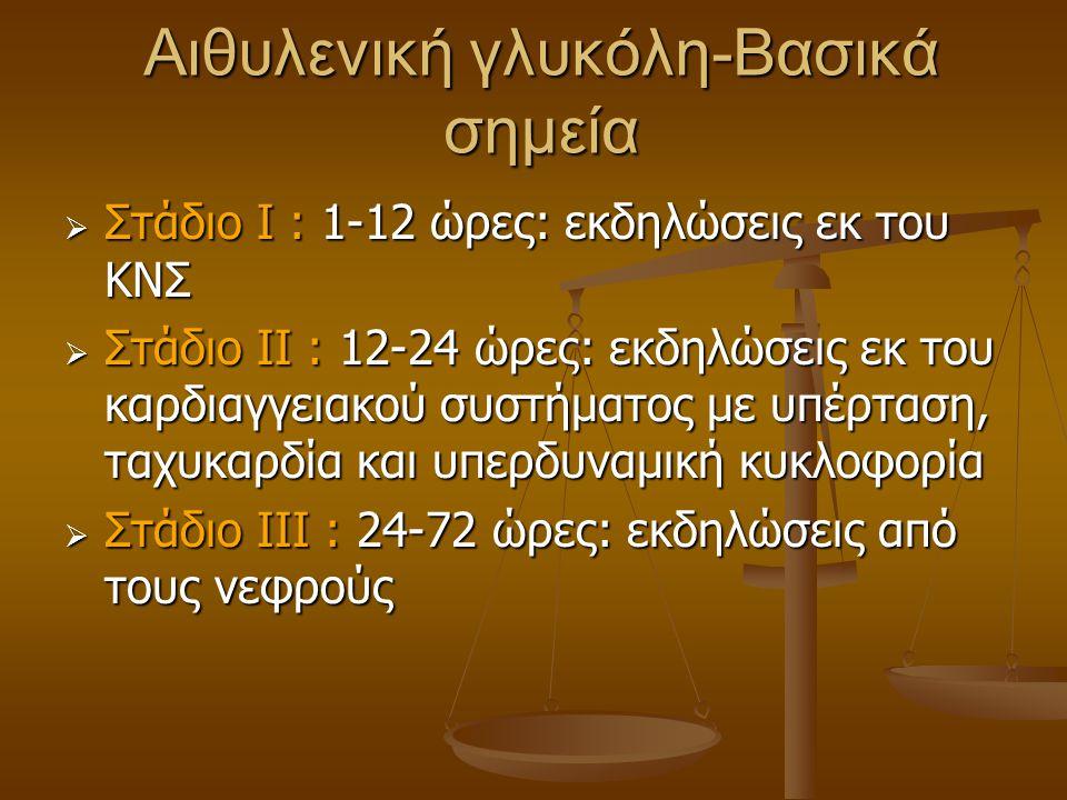 Αιθυλενική γλυκόλη-Βασικά σημεία  Στάδιο Ι : 1-12 ώρες: εκδηλώσεις εκ του ΚΝΣ  Στάδιο ΙΙ : 12-24 ώρες: εκδηλώσεις εκ του καρδιαγγειακού συστήματος μ