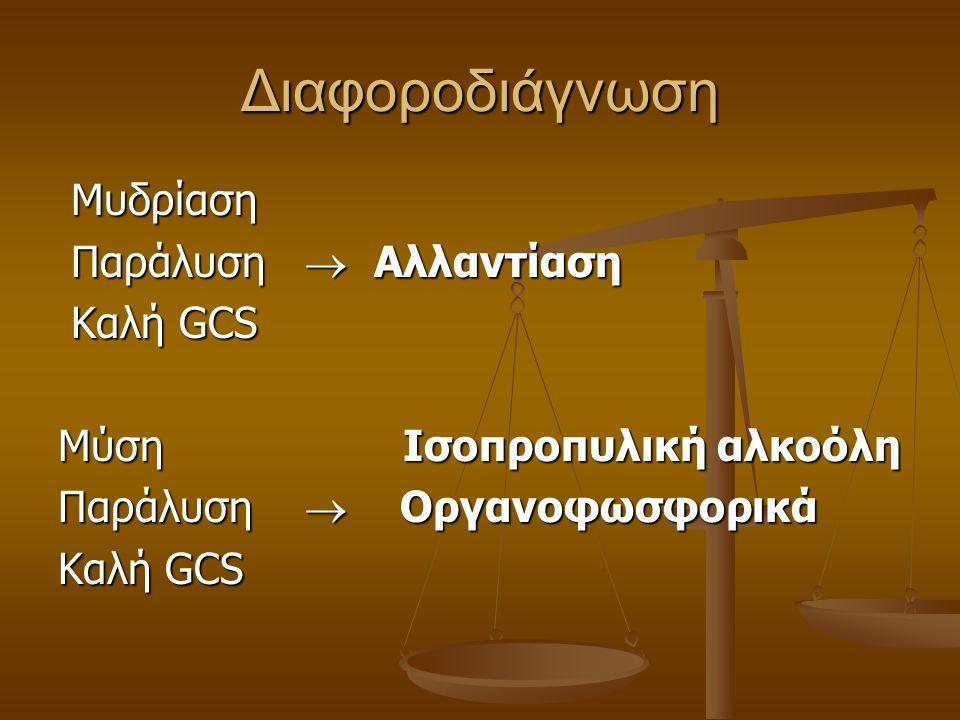 Διαφοροδιάγνωση Μυδρίαση Μυδρίαση Παράλυση  Αλλαντίαση Παράλυση  Αλλαντίαση Καλή GCS Καλή GCS Μύση Ισοπροπυλική αλκοόλη Παράλυση  Οργανοφωσφορικά Κ