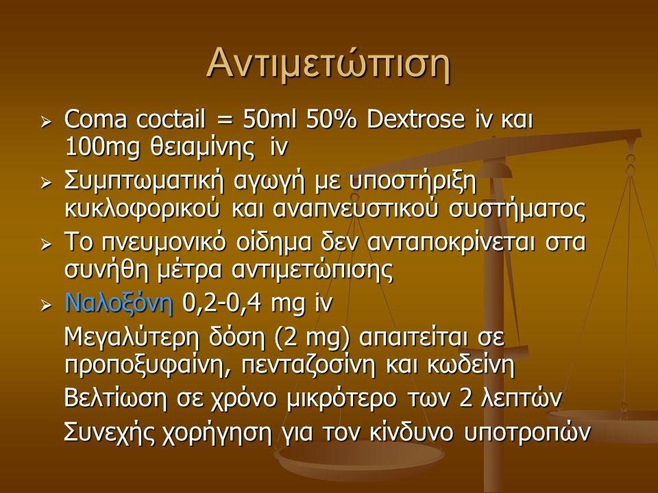 Αντιμετώπιση  Coma coctail = 50ml 50% Dextrose iv και 100mg θειαμίνης iv  Συμπτωματική αγωγή με υποστήριξη κυκλοφορικού και αναπνευστικού συστήματος
