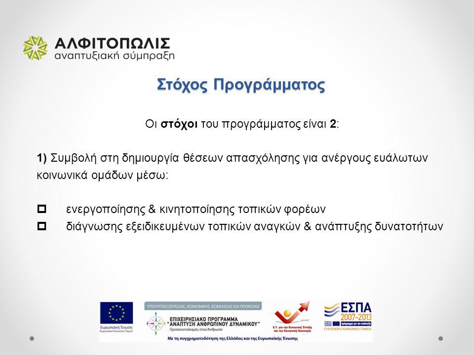 Στόχος Προγράμματος Στόχος Προγράμματος Οι στόχοι του προγράμματος είναι 2: 1) Συμβολή στη δημιουργία θέσεων απασχόλησης για ανέργους ευάλωτων κοινωνικά ομάδων μέσω:  ενεργοποίησης & κινητοποίησης τοπικών φορέων  διάγνωσης εξειδικευμένων τοπικών αναγκών & ανάπτυξης δυνατοτήτων